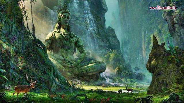 lord shiva in meditation in the forest, god shiva in himalayas background