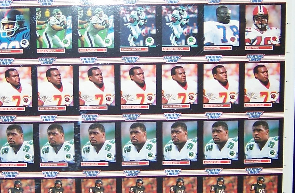 Kennerstartinglineup 1989 Football Uncut Card Sheet