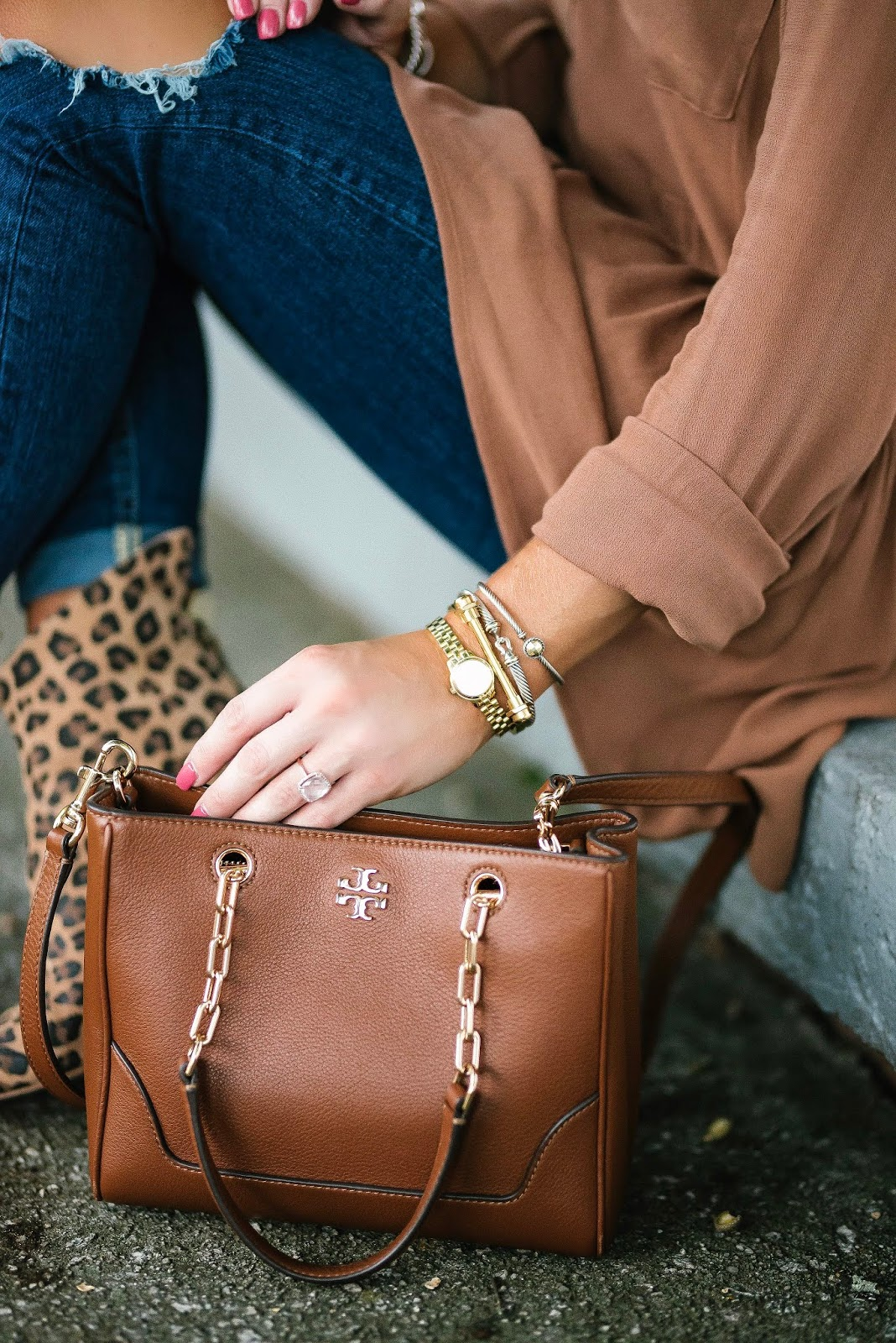 Fall Style: Under $60 High/Low Blouse,  Leopard Booties and Tory Burch Bag - Something Delightful Blog