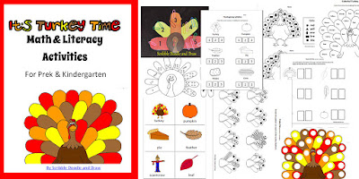 Thanksgiving math and literacy activities for kindergarten
