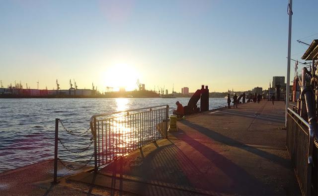 Hafen Hamburg auf dem schwimmenden Piers 11 mit Elbe und Hafenkräne
