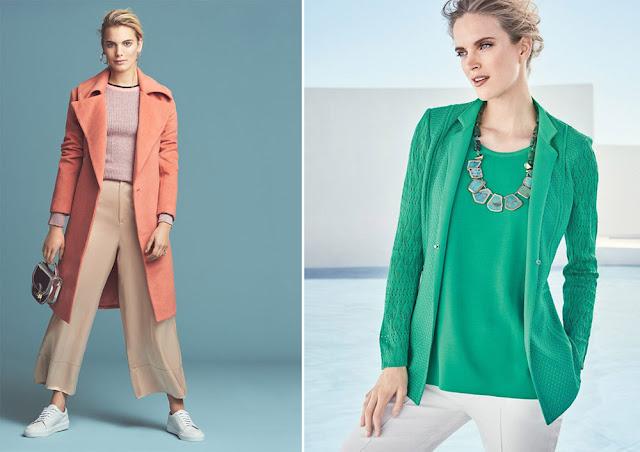 Сочетание персикового и лавандового, бирюзового и зеленого в одежде