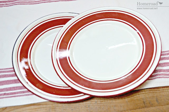 enamelware red striped plates repurposed into a pedestal dish