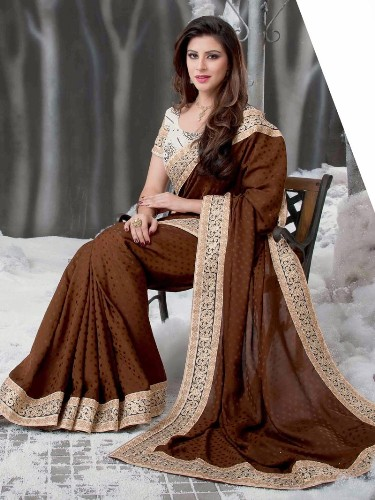Brown Net Saree With Golden Lace