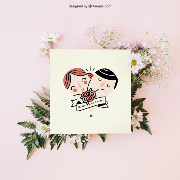 Wedding decoration with cute card free psd vectorkh valentines day greeting card vector design illustration free vector by freepik junglespirit Image collections