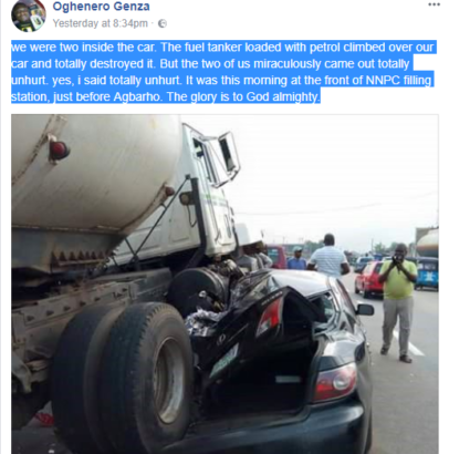 Warri-based-OAP-Oghenero-Genza-walks-out-unhurt-after-a-tanker-crushed-his-car