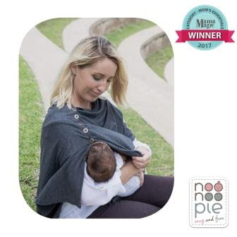 Mom breastfeeding baby with Noonoo Pie feeding shawl