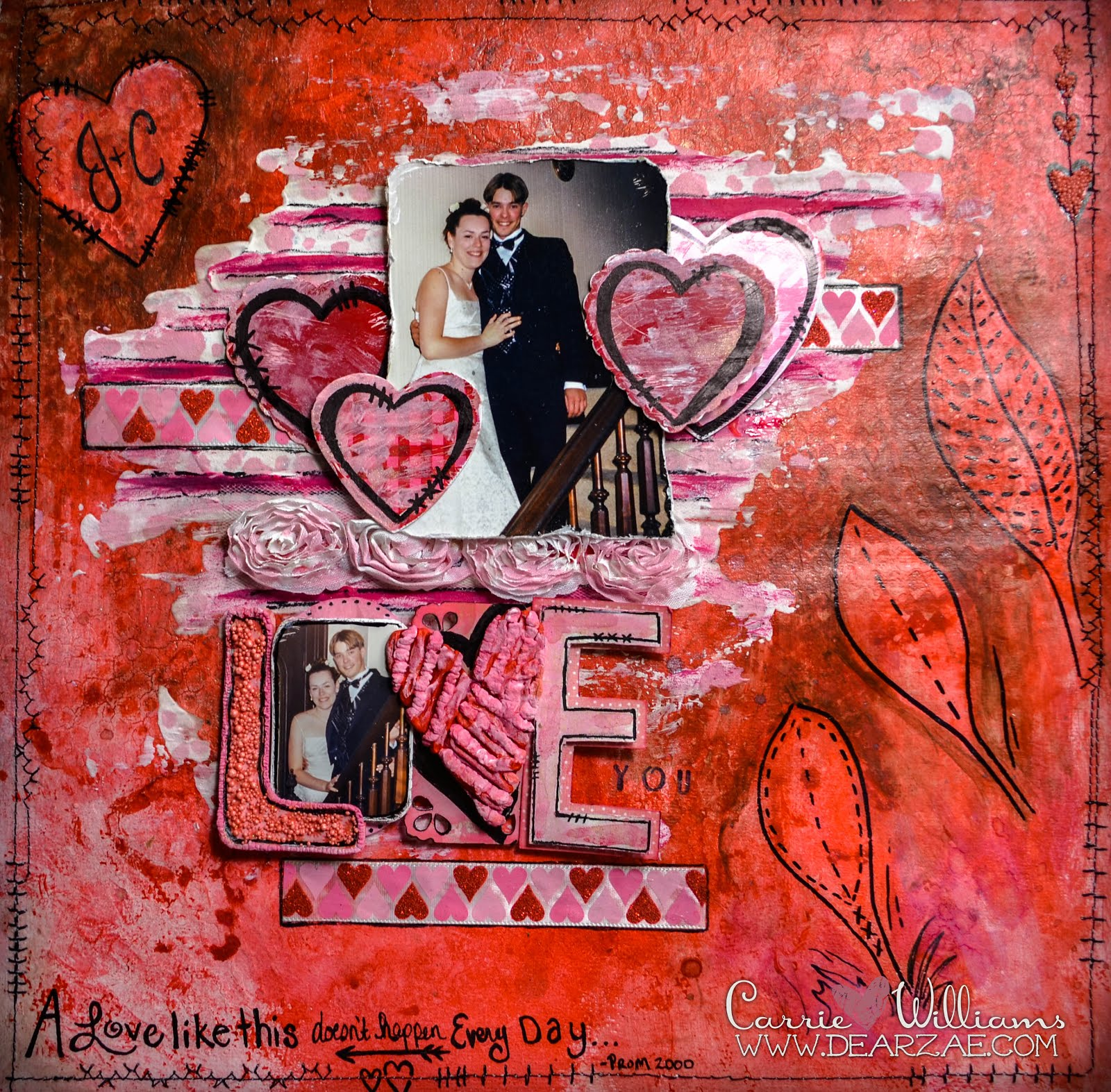 A mixed media Valentines Day love scrapbook layout page with doodling, heart ribbon, rosettes, texture paste, prills, and hearts in red and pink with black stitching.