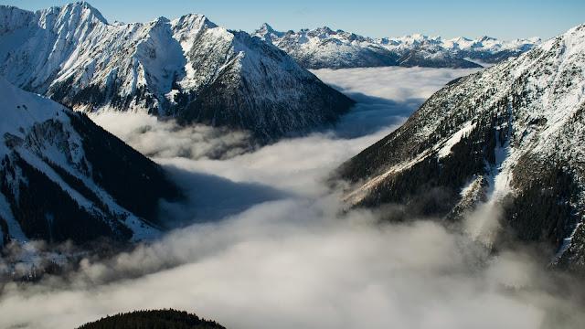 montagne, nebbia, neve,