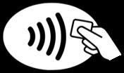 Ein Symbol für kontaktloses zahlen