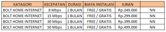 Paket Internet Bolt Home 1 Bulan