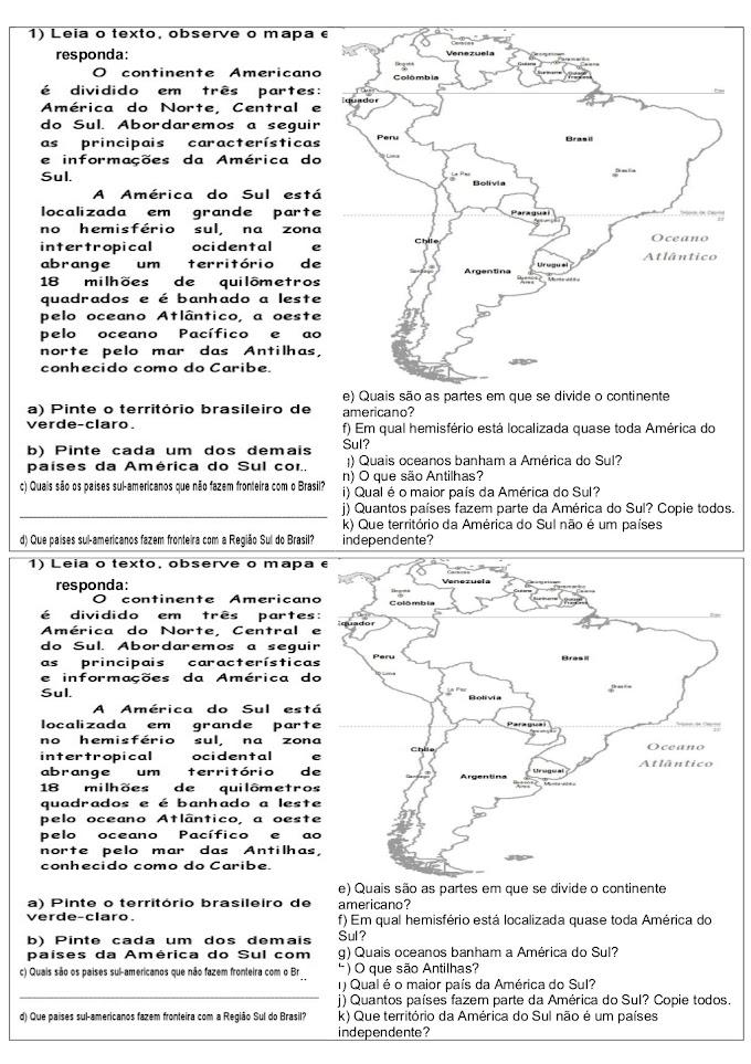 Atividades América do Sul e Paralelos.