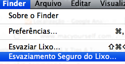 Esvaziamento seguro do lixo no finder