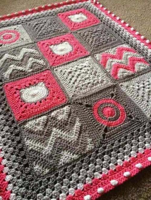 Modern Patchwork Blanket - Crochet Pattern