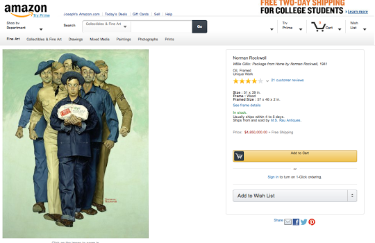 HIghest Price Work of Art is Willie Gillis, Package from Home, Norman Rockwell Painting for $4,850 million