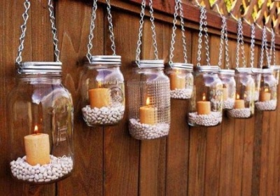 Hanging Mason Jars with Pebbles and Candles