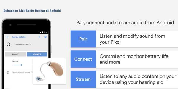 dukungan alat bantu dengar di android