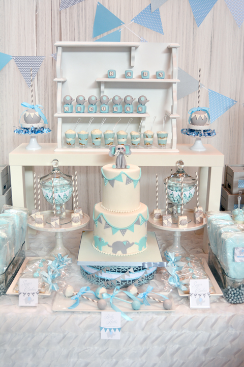 Rachel j special events baby blue and gray elephant baby for Baby shower decoration sets