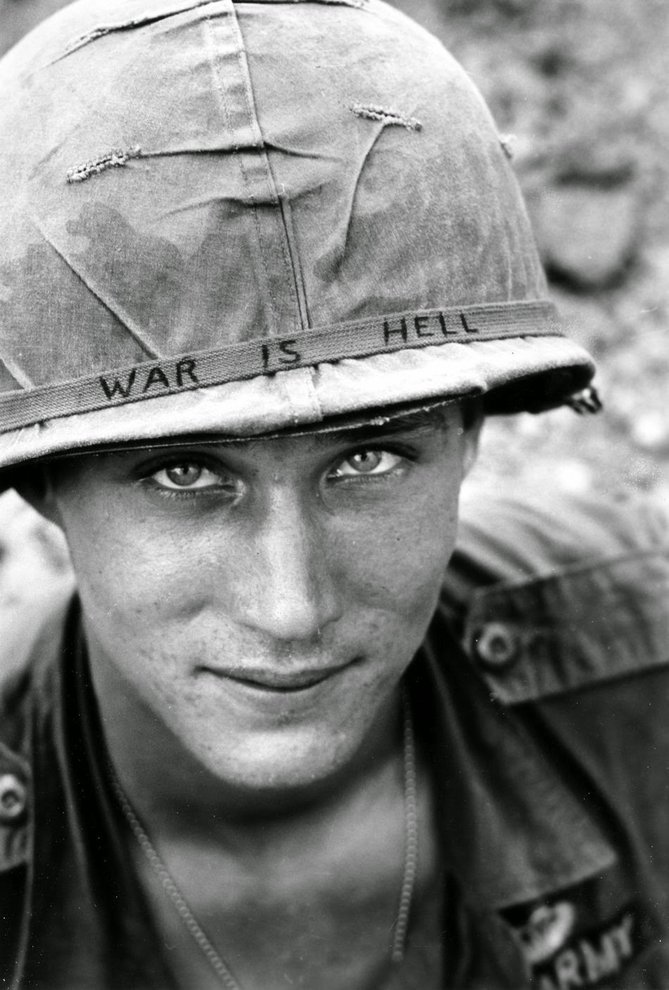 An American Soldier Wears A Hand Lettered War Is Hell Slogan On His Helmet Vietnam 1965 Rare Historical Photos