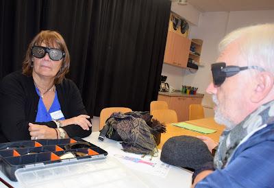 Fotografia de dois dos participantes a experimentar os óculos de simulação