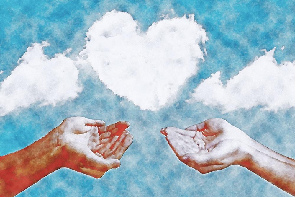 水彩画の手と雲(ハート)