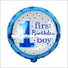 Balon Foil Bulat 1 First Birthday Boy & 1 First Birthday Girl