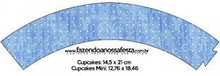 Wrappers para cupcakes de Corona Dorada en Azul y Amarillo.