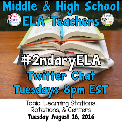 Join secondary English Language Arts teachers Tuesday evenings at 8 pm EST on Twitter. This week's chat will focus on learning stations, rotations, and centers.