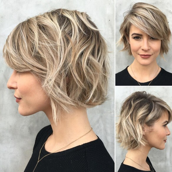 She Tosses Her Hair Way Over To One Side Letting Trendy Bangs Hang Gracefully Just Above The Eye Tousled Up With Some Coquettish Waves