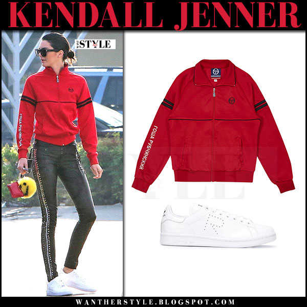 Kendall Jenner in red track jacket gosha rubchinskiy, black leather pants and white sneakers what she wore march 2017