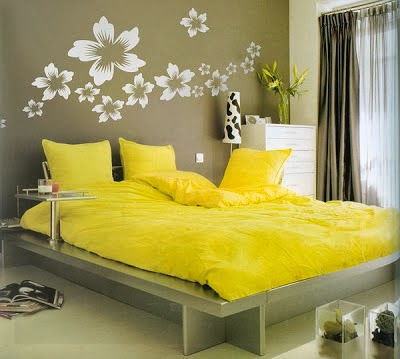 habitación amarillo gris blanco