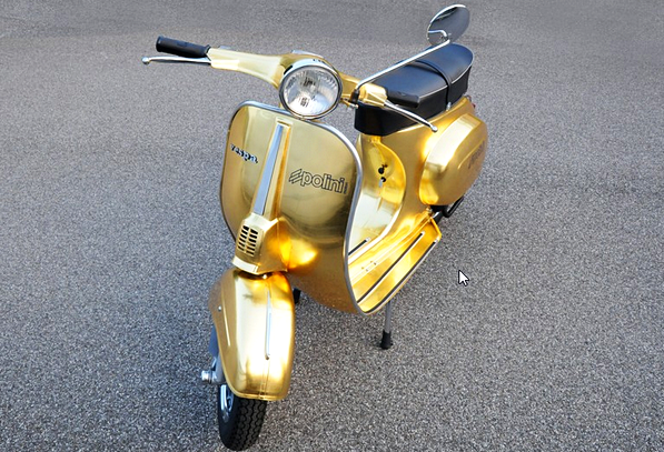 The Vespa Polini Gold -  Vespa Modif Unik Dengan Balutan Emas 23 Karat