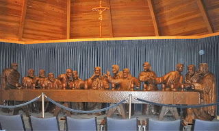 life size wooden carving of the Last Supper of Jesus and his disciples at Trinity Heights in Sioux City, Iowa
