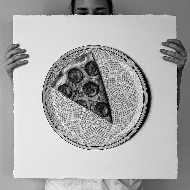 25-Pepperoni Pizza-C-J-Hendry-Hyper-Realistic-Drawings-of-Food-www-designstack-co