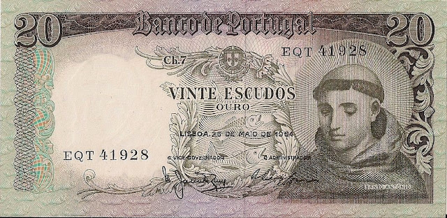 Portugal Banknotes 20 Escudos banknote 1964 Saint Anthony of Padua