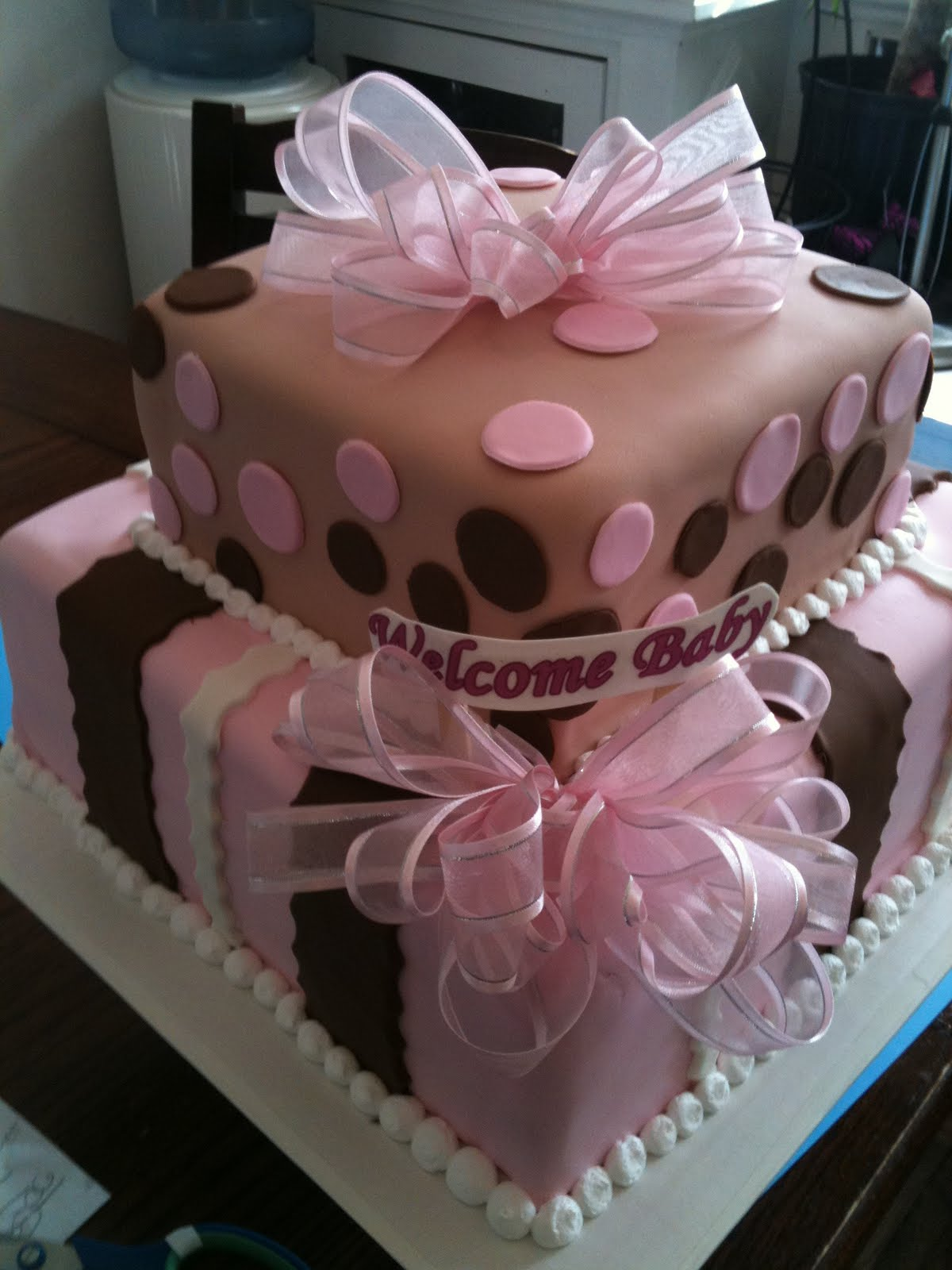 Hectors Custom Cakes Pink Brown Box Baby Shower