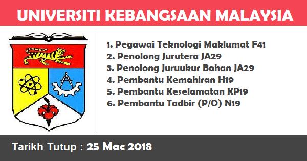 Jobs in Universiti Kebangsaan Malaysia (UKM) (25 Mac 2018)