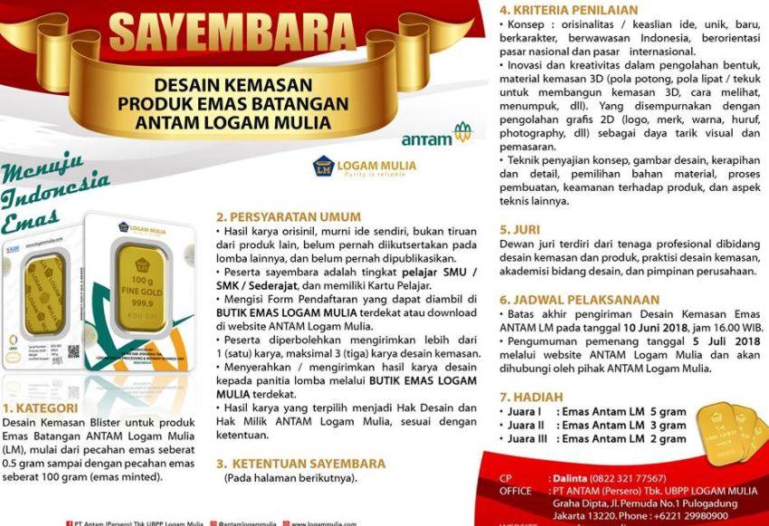 Info Lomba Lomba Desain Kemasan Emas Hadiah Lm 10 Gram Lomba Asia