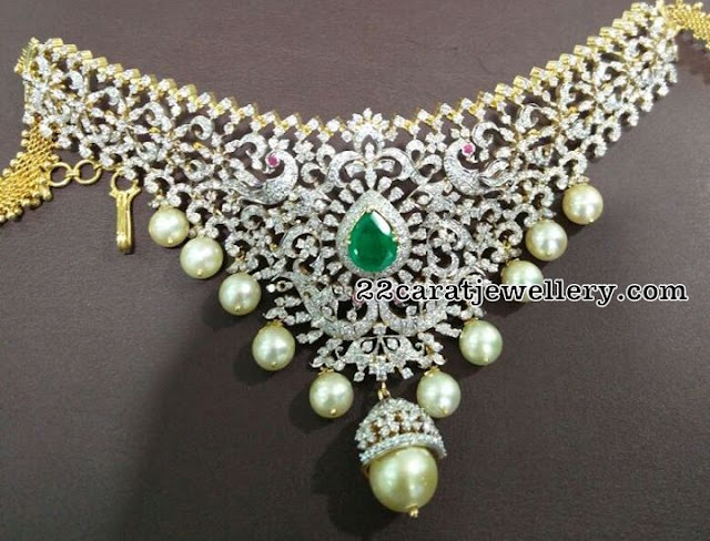 Diamond Necklace with Jhumka Pendant