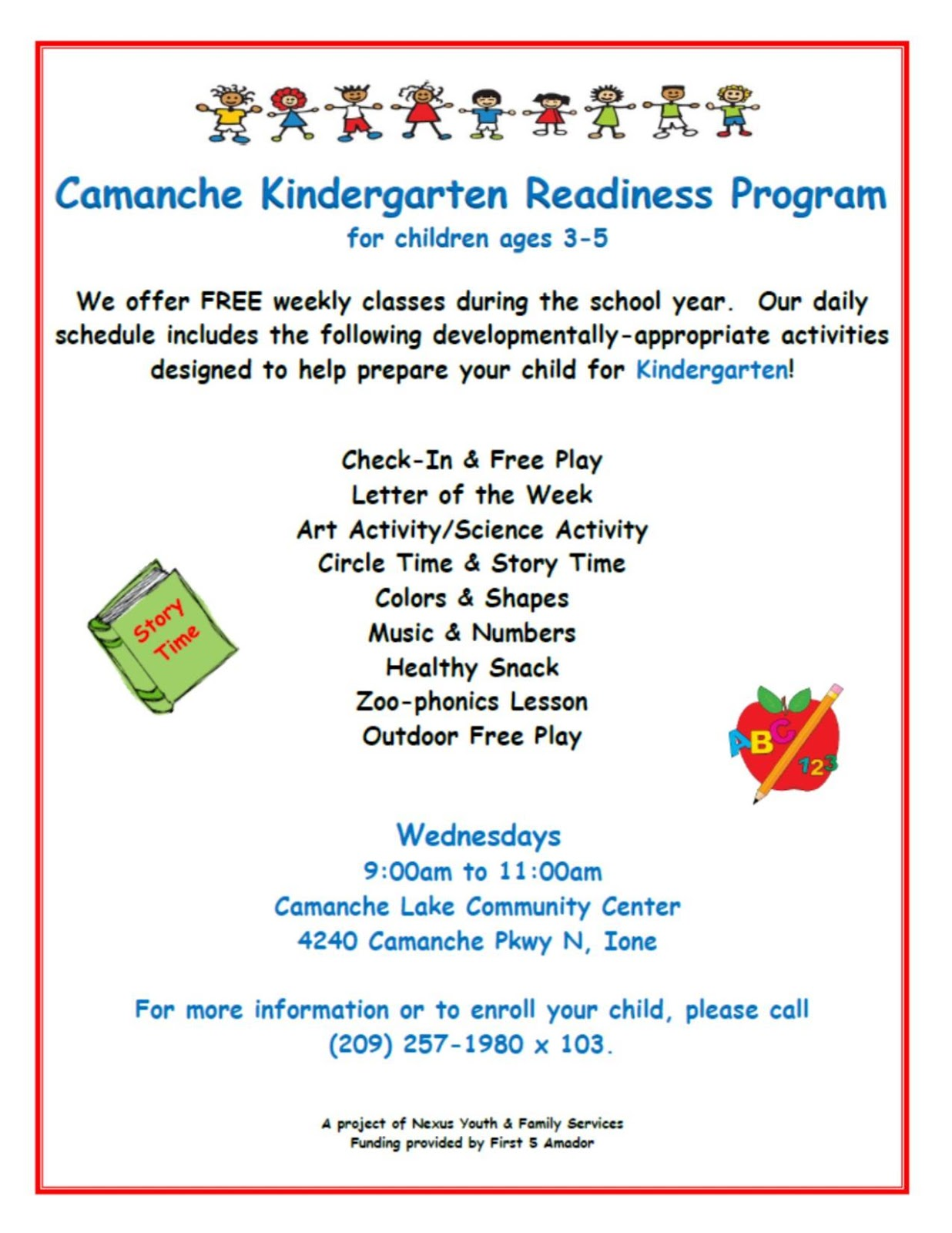 camanche kindergarten readiness program this free program is open to all children ages 3 5 regardless of income weekly classes are offered during the