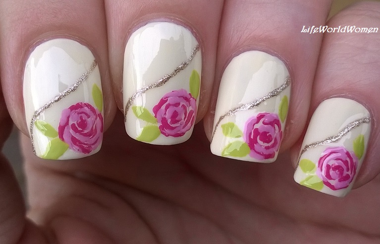 Life World Women: Pastel Rose Nail Art Using Only Toothpick