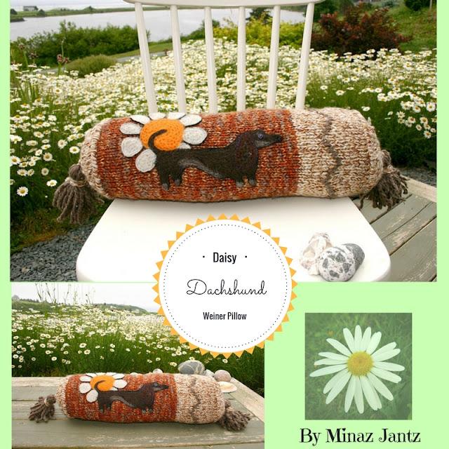 Daisy Daschshund Weiner Pillow by Minaz Jantz