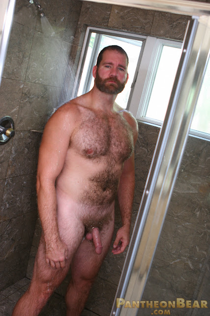 beefy hairy bear rob mann taking a shower for pantheon