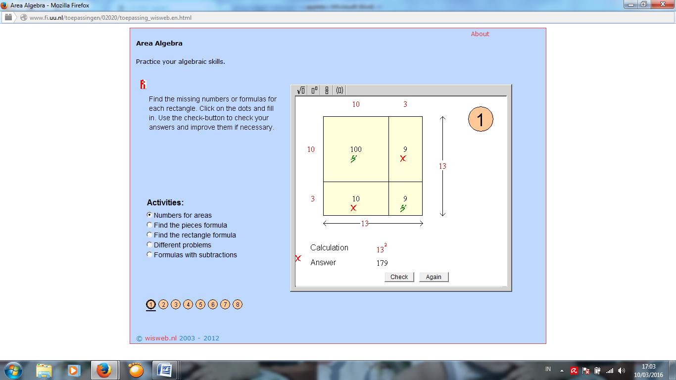 Wisweb Applet Area Algebra All About Mathematics