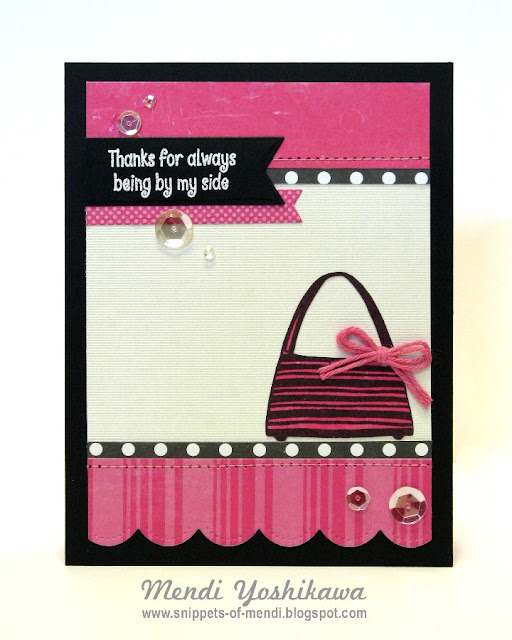 Skipping Stones Design: Birthday Purses Card by Mendi Yoshikawa (created for Silent Auction for Susan G. Komen Foundation)