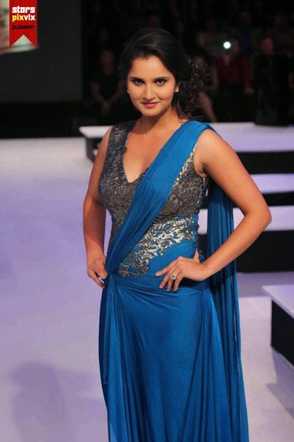 Sania Mirza Rampwalk In Sexy Blue Sharara - Hd Latest -6191