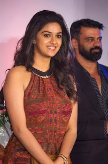 Keerthy Suresh in Maroon Color Dress with Cute and Awesome Lovely Chubby Cheeks Smile 3
