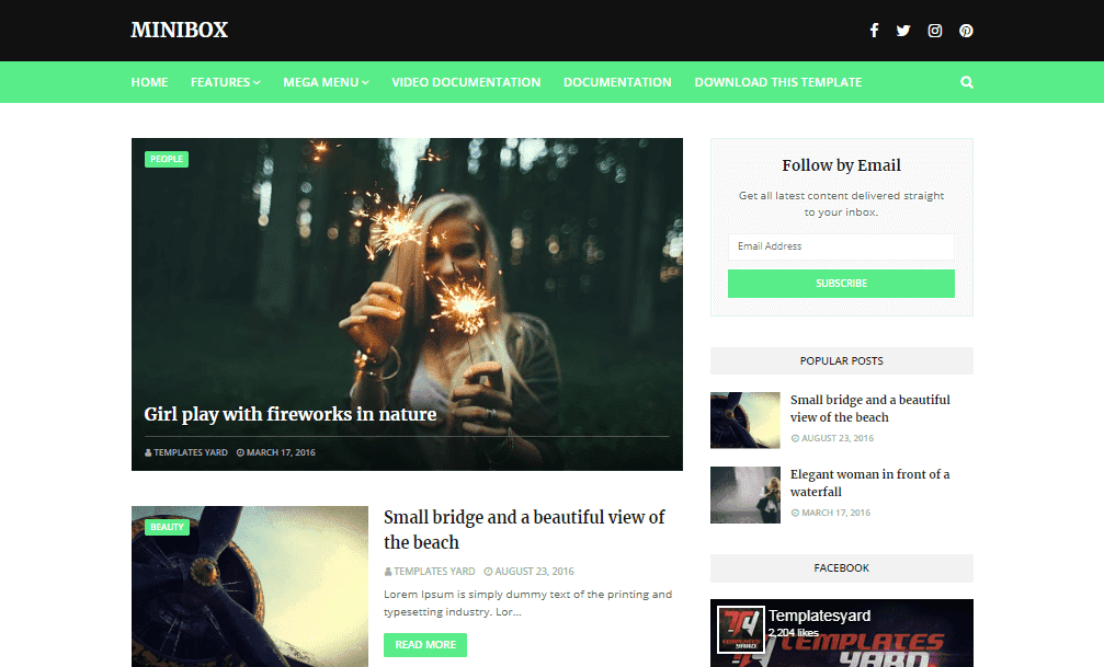 MiniBox Responsive Blogger Template