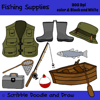 clip art image of fishing supplies like fishing vest boat net tackle box rod