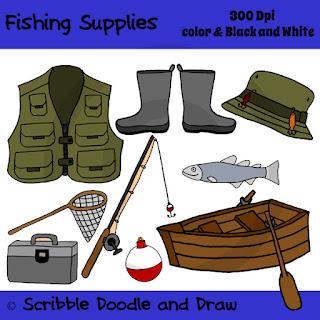 clip art image of fishing supplies like fishing vest boat net tackle box rod